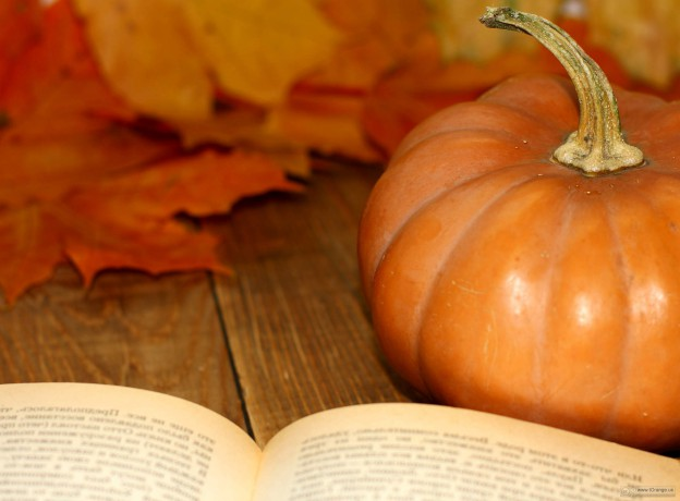 book and pumpkin